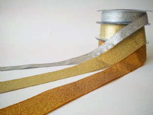 0 SF1401L Metallic Lurex Ribbon - Gold or Silver - Choice of Widths